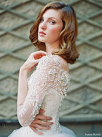 Wholesale wedding dress long puff sleeves resale online - new design sexy white Long sleeve ball gown lace plus size beaded wedding dresses crystal puff bridal gowns