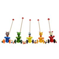 bebek arabası oyuncak toptan satış-Ahşap Karikatür Hayvan Itme Sepeti Oyuncak Bebek Çocuk Bulmaca Oyuncaklar Hediye Için Birçok Stilleri 5sw C R