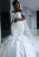 vestido de noiva africano fazer venda por atacado-Querida do vintage africano cetim sereia vestidos de casamento Lace apliques Lace Up Beads mangas Plus Size Custom Made vestidos de noiva