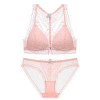 and back lingerie venda por atacado-Yhotmeng luxo intimates francês confortável vs respirável push up sutiã sem fio rendas lingerie sexy beleza de volta cueca mulheres