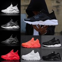 Wholesale Boys Ski Boots - 2018 Air Huarache 4 and 1 Running Shoes For Women Men Triple black white Red Lady boys Huaraches Sports Sneakers US 5.5-11