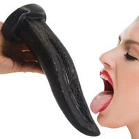 Wholesale women sex games resale online - FAAK cm Long Tongue Clitoris Stimulate Dildo Adult Games Foreplay Oral Sex Toy A Spot Woman Masturbate Vagina Insert Penis Hot Y18110305
