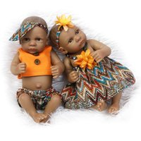 Wholesale silicone baby dolls toy resale online - Hot inch American Baby Doll African Black girl doll Full Silicone Body Bebe Reborn Baby DIY Dolls children gift kids play house gadgets