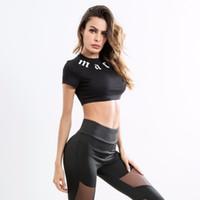 sutiã preto dos esportes do spandex venda por atacado-Chegam novas Preto Sexy Esporte Push Up Bra Sutiã de Fitness Yoga Correndo Ginásio Carta Top