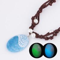 ingrosso cuore di pietra blu-Collana luminosa Ocean Romance Blue Stone Pendenti a cuore Collana per donna Gioielli femminili Glow In The Dark Collane a catena con corda