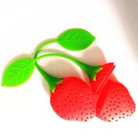 Wholesale teapots wholesale - Lovely Fruit Strawberry Shape Tea Infuser Food Grade Silicone Tea Strainer For Loosing Leaf In Teapot