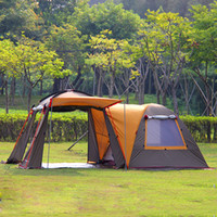 одна палатка оптовых-Wholesale- Ultralarge 5-8 Person One Hall One Bedroom Double Layer Strong Waterproof Windproof Family Size Party Camping Tent Festival Tent