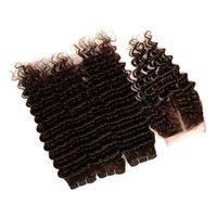 cyssic k toptan satış-# 4 Koyu Kahverengi Brezilyalı Virgin İnsan Saç Dokuma Paketler Üst Kapatma ile Derin Dalga Dalgalı Çikolata Kahverengi 4x4 Dantel Ön Kapatma ile Örgüleri