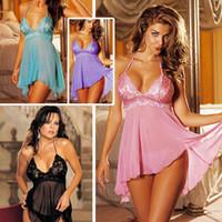 mais tamanho xxl fatos de treino para mulheres venda por atacado-Europa moda tamanho grande sexy lingerie mulheres sexy lingerie rendas pijama de tamanho grande Plus Size M XL XXL 3XL 4XL 5XL 22-10A D18110801