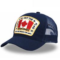 ingrosso foglie di acero-DSQICOND2 Maple Leaf Mesh Berretto da baseball Lettere Uomini di alta qualità Cap donna Design personalizzato ICON Logo Bonnet Homme Dad Hat