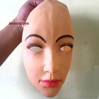 máscara de silicona media al por mayor-Grado superior hecho a mano de silicona sexy y dulce mitad mujer máscara facial Ching crossdress máscara crossdresser muñeca máscara señora piel cara