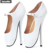 Wholesale office men ankle shoes for sale - 18cm Sexy High Heels Spike Heel Fetish Ballet Pole Dancer Pointed Toes Ankle Straps Buckle Pumps Man Ballet Shoes Unisex Summer Shoe White