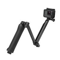 gopro way mount al por mayor-SHOOT Impermeable de 3 Vías Grip Mount Selfie Stick Session SJCAM gopro Xiaomi Yi 4K Eken h9 Cámara Monopod Tripod Kit