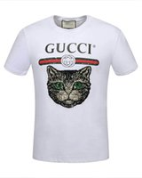 aa New 2018 Hip Hop gg t-shirt da uomo Estate manica corta in cotone Marca TOPS camicia uomo Moda Black Cat tee Mens Designer Fitness t-shirt