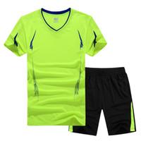Wholesale xl suits for men resale online - Casual New Summer Men Set Sporting Suit Short Sleeve T Shirt Shorts Two Piece Set Sweatsuit Drying Tracksuit Sportswear For Men Plus Size