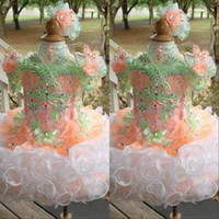 Wholesale puffed balls resale online - Sparkly Cupcake Girls Pageant Dresses Princess Flower Girls Ball gowns Straps Puff skirt Girls dresses for Party
