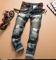 Wholesale Bleach 42 - 2018 Men Trousers -Big Size 42 New mens Biker Jeans Motorcycle Slim Fit Washed Blue Moto Denim skinny Elastic Pants Joggers For Men jeans