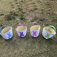 Wholesale Purple Easter Eggs - Easter Rabbit Basket Easter Bunny Bags Rabbit Printed Canvas Tote Bag Egg Candies Baskets 4 Colors OOA3960