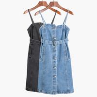 beiläufiges kurzes denimkleid großhandel-Vintage-Bügel-Denim-Kleid-Frauen-hohe Taillen-Jeans-Kleid 2018 adrette Art Kurze Kleider Lässig Blau Mini Vestidos