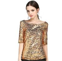 nakışlı gömlek bluz toptan satış-Yeni Kadın Bluzlar Moda Pullu Işlemeli Yarım kollu Gevşek Rahat Gömlek Artı Boyutu S-5XL