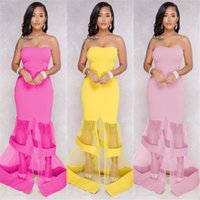 Wholesale yellow strapless maxi for sale - Hot graceful women dress strapless fit and flare elegant evening party dress beauty long maxi dress summer
