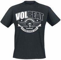 шейный ремень моды оптовых-Volbeat Skullwing Ribbon Футболка Черная Футболка Повседневная О-Образным Вырезом Бесплатная Доставка Летняя Мода Футболка Мужчины С Коротким Рукавом Футболка