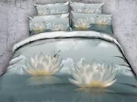 Wholesale flower floral bedding set 3d for sale - Group buy JF Holy and pure buddhist lotus flowers bedding set euro double satin bed linen d floral duvet quilt covers shams