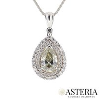 Wholesale Rose Cut Diamond Pendant - 2.31Ct Fancy Greenish Yellow Diamond Necklace Pear Cut Halo Natural 18K Gold GIA
