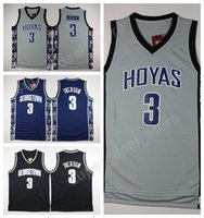 Wholesale Allen Sports - Georgetown Hoyas College Jerseys Black Blue Gray Stitched Basketball 3 Allen Iverson Jersey Men Sale For Sport Fans Wholesales Lowest Price