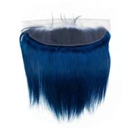 couleur cheveux bleus achat en gros de-Bleu foncé couleur cheveux humains dentelle frontale 13 x 4 soyeux droite gratuit moyen trois partie oreille droite à l'oreille frontale avec des cheveux de bébé