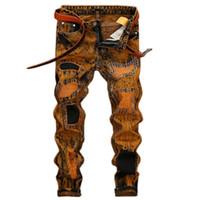 neue gelbe jeans für männer großhandel-Weinlese-gelbe Mannjeans neue Sommer streetwear Mensentwerferjeans arbeiten gerade lange Hosen für Männer freies Verschiffen um