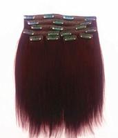 grampos de cabelo macios venda por atacado-Chegam novas Clipe Em Extensões Do Cabelo Borgonha 99J Brasileira Remy Virgem Do Cabelo Humano Luz Yaki Trama Do Cabelo Macio Duplo Desenhado