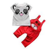 Wholesale panda clothing for baby boys resale online - Baby Boy Clothes Sets Kids Clothes Cartoon Panda Striped T shit Strap Pants For Newborn Infant Girls Clothing Sets