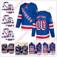 трикотажные изделия шитые оптовых-Пользовательские Нью-Йорк Рейнджерс сшиты на любой номер имя темно - синий белый 2018 зима классический новый бренд хоккейные майки размер S-XXXL