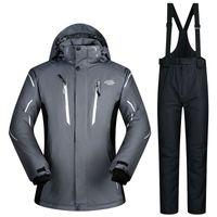 calças de esqui para homem venda por atacado-2018 Homens Ski Suit Jaqueta de Esqui Snowboard Calça À Prova de Vento À Prova D 'Água Ao Ar Livre Desgaste Do Esporte Super Quente Roupas Calças Casaco Masculino Calça