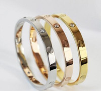 Wholesale wedding bracelets resale online - Gold Silver Oval Lover Pattern Rhinestone Bangle Titanium Steel Bracelet Buckle Cuff Wedding Bangle Women Jewelry Fashion Gift Fashion Brand
