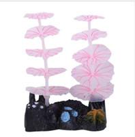 coral aquário tanque luzes venda por atacado-1 Pcs Decorações de Aquário Luminosa Coral Emulational Folha De Lótus Fish Tank Aquarium Paisagismo luzes LED efeitos luminosos