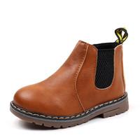 vestido de los nuevos muchachos del estilo al por mayor-2018 Niños Otoño Invierno Oxford Martin Zapatos para Niños Niñas Vestido Botines Moda Estilo Británico Niños Bebé Toddler PU Ieather Boot NUEVO