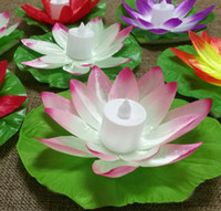 ingrosso lumi di loto-LED Lotus Lamp in Colorful Cambiato galleggiante Piscina di acqua che desiderano lampade di luce Lanterne per la decorazione del partito che desiderano lampada 65PCS