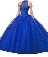 courte quinceanera élégante achat en gros de-Custom New robes de bal licou sans manches dos nu longues robes de bal formelles de dentelle tulle robes de Quinceanera rouge rose turquoise DH4064