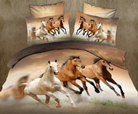Wholesale animal bedspreads - hot sale 3D animal horse twin king full double bedclothes bedspread pillowcase duvet cover set bedding set