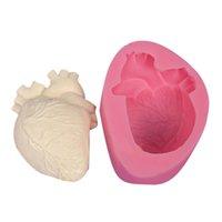 pişmiş köpük toptan satış-3D Silikon Kalp Kalıp Pişirme Kalıpları Silikon Kek Pişirme Sabunlar Mus Cadılar Bayramı Parti Faver için Fondan Kalıp