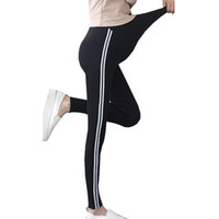 Wholesale maternity pants for sale - Maternity Knitted Leggings For Pregnant Women Pants Side Striped Sideseam Sweatpants Leggings Comfy Leisure Pregnancy Pants