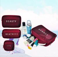 Wholesale Toiletry Travel Bag Set - 3pcs 1 set beauty cosmetics Organizer nylon mesh makeup bag women travel Makeup Organizer Storage Toiletry Beauty Wash Kit Bags LJJK920