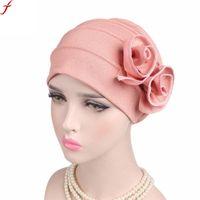 ca4247f10c0 2018 New Arrival Lady Hat Winter And Autumn Flowers Muslim Hat Women Ladies  Boho Cancer Beanie Scarf Turban Head Wrap Cap