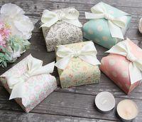 forfaits douche de bébé achat en gros de-Boîte de bonbons bricolage avec des faveurs de mariage de ruban et boîte de cadeaux Fournitures de fête Baby Shower Paper Chocolate Boxes Package