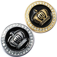 Wholesale Sticker Crown - 5CM Hot 3D Metal Crown Diamond Car Styling Decoration Sticker Auto Car Emblem Badge Logo Personality Accessories Gold Silver for Toyota