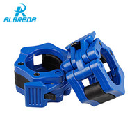 Wholesale weighted collar - ALBREDA 1 Pair 50mm Multi color Barbell Clamp Collar Clip Weight Dumbbell Spinlock Lift gym weight lifting body building