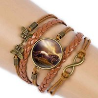 armband leder unendlich großhandel-Vintage Bronze Pferd Bild Schmetterling Charms Infinite Wrap Armbänder Armbänder für Frauen geflochtene Leder Mädchen Armband Armband