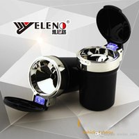 Wholesale Lighted Cup Holder Ashtray - Brand New Cylinder Cup Holder Cigarette Ashtray Portable Auto Car Smokeless Stand with Blue LED Light (Black)